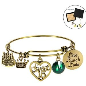 Jewelry - August Birthday Bangles Live Laugh Love Charms